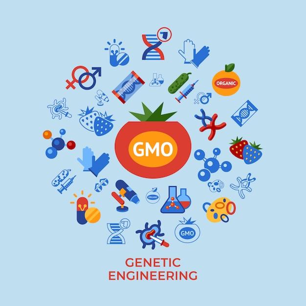 Zestaw Ikon Technologii Inżynierii Genetycznej Premium Wektorów