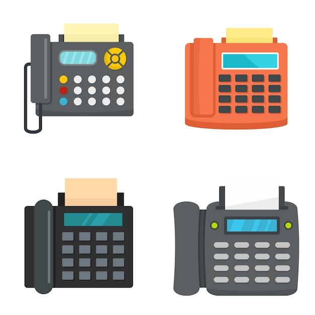 Zestaw ikon telefonu faksu Premium Wektorów