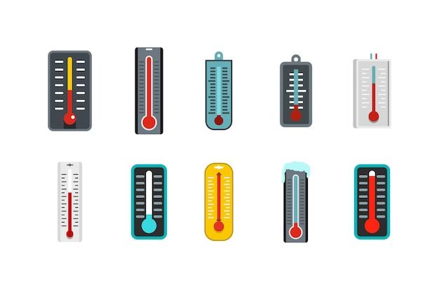 Zestaw Ikon Termometru. Płaski Zestaw Termometr Wektor Zbiory Ikon Na Białym Tle Premium Wektorów
