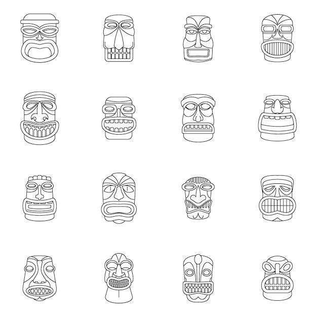 Zestaw Ikon Tiki Idol Aztec Hawaje Premium Wektorów