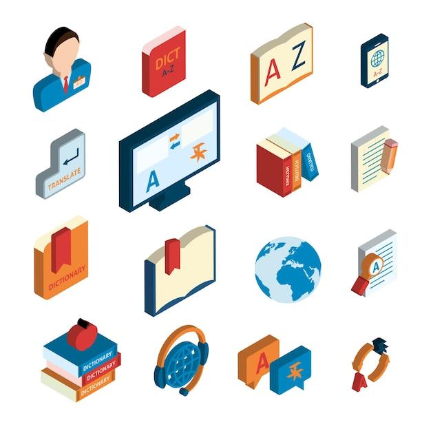Zestaw ikon tłumaczenia i słownika Darmowych Wektorów