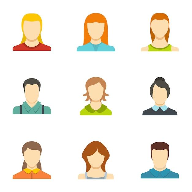 Zestaw Ikon Tożsamości. Płaski Zestaw 9 Ikon Wektorowych Tożsamości Premium Wektorów