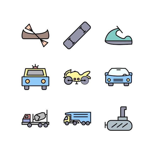 Zestaw Ikon Transportu Do Użytku Osobistego I Komercyjnego Premium Wektorów
