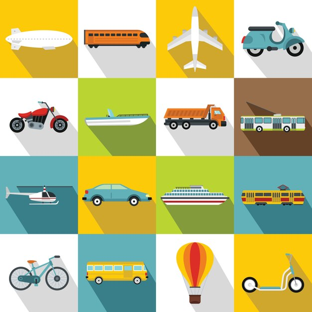 Zestaw ikon transportu, płaski Premium Wektorów