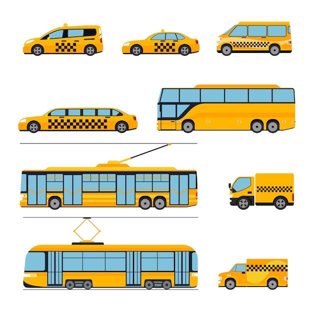 Zestaw Ikon Transportu Publicznego Miasta Płaski. Pojazdy Miejskie. Pociąg I Autobus, Tramwaj I Samochód, Darmowych Wektorów