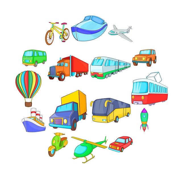 Zestaw ikon transportu, stylu cartoon Premium Wektorów