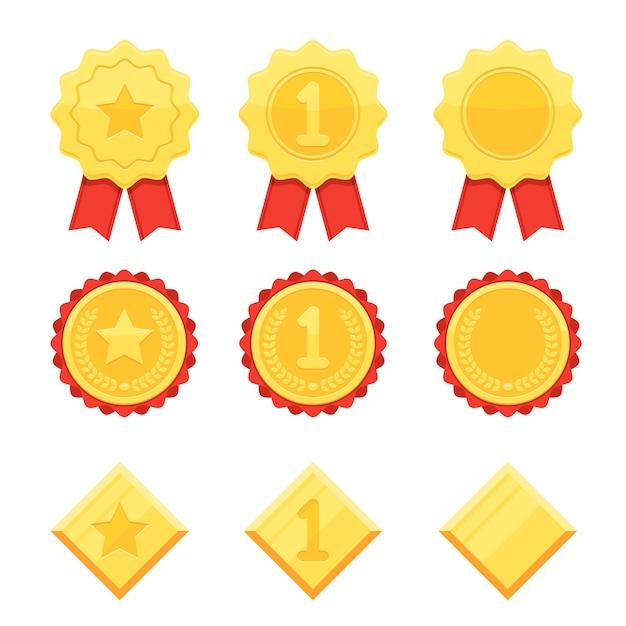 Zestaw Ikon Trofeum I Nagrody Premium Wektorów