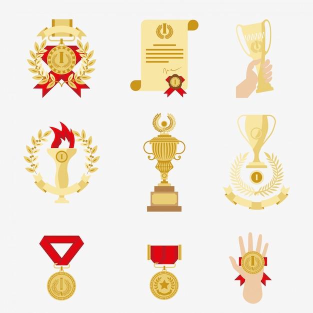 Zestaw ikon trofeum i nagrody. Premium Wektorów