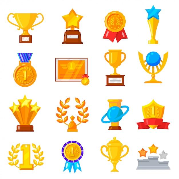 Zestaw ikon trofeum nagrody Premium Wektorów