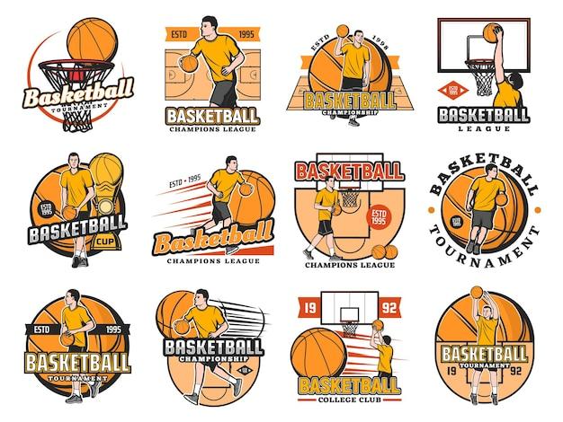 Zestaw Ikon Turnieju Koszykówki, Klubu Uczelni Lub Mistrzostw Ligi. Premium Wektorów