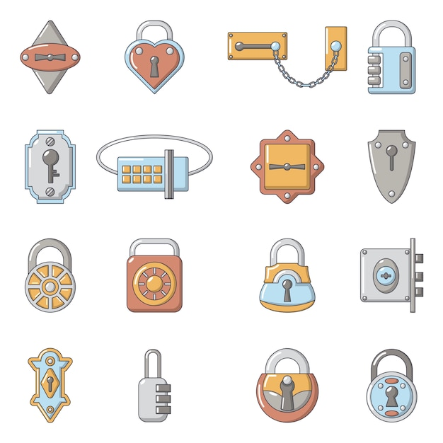 Zestaw ikon typów blokad drzwi Premium Wektorów