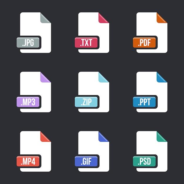 Zestaw ikon typów plików. dokumentuj formaty multimedialne. Premium Wektorów
