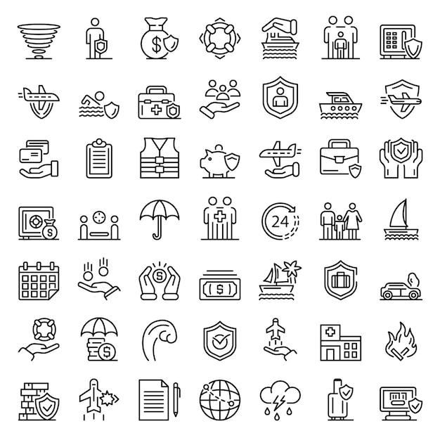 Zestaw ikon ubezpieczenia podróży rodzinnych, styl konturu Premium Wektorów