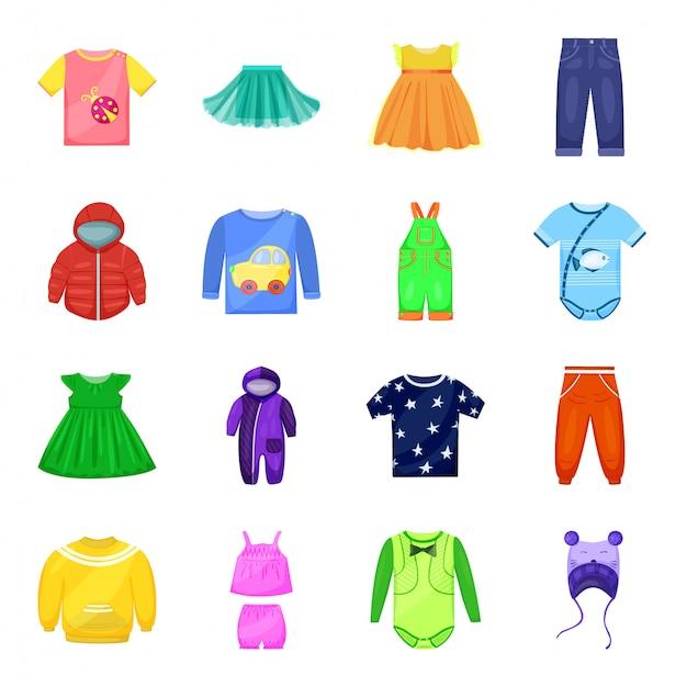 Zestaw Ikon Ubrania Dla Dzieci. Sukienka Kreskówka Na Białym Tle Ikona Dziecko Zestaw. Ubranka Dziecięce . Premium Wektorów