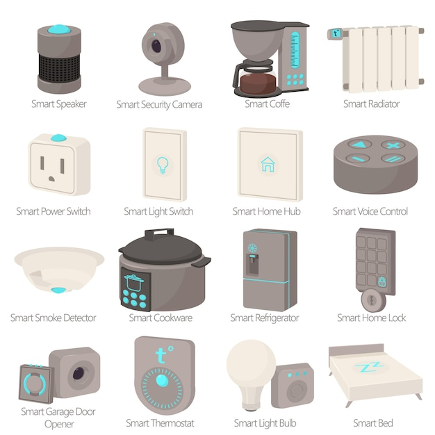 Zestaw ikon urządzeń inteligentnego domu Premium Wektorów