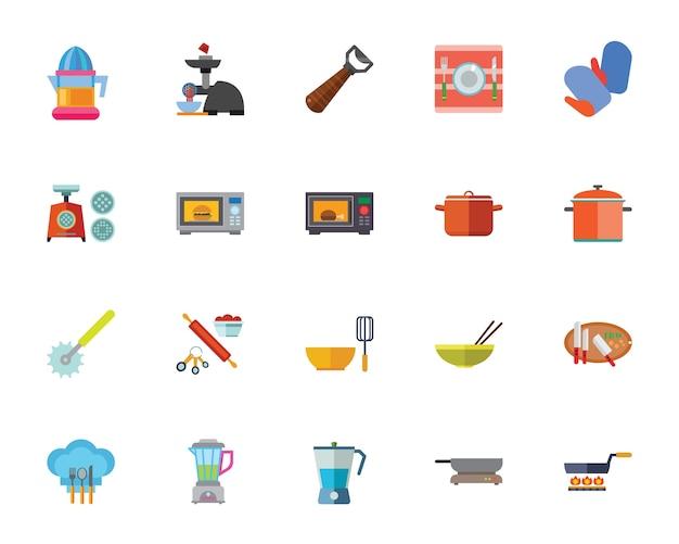 Zestaw ikon urządzenia kuchenne Darmowych Wektorów
