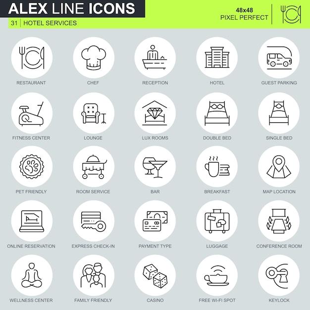 Zestaw ikon usług cienkich linii Premium Wektorów