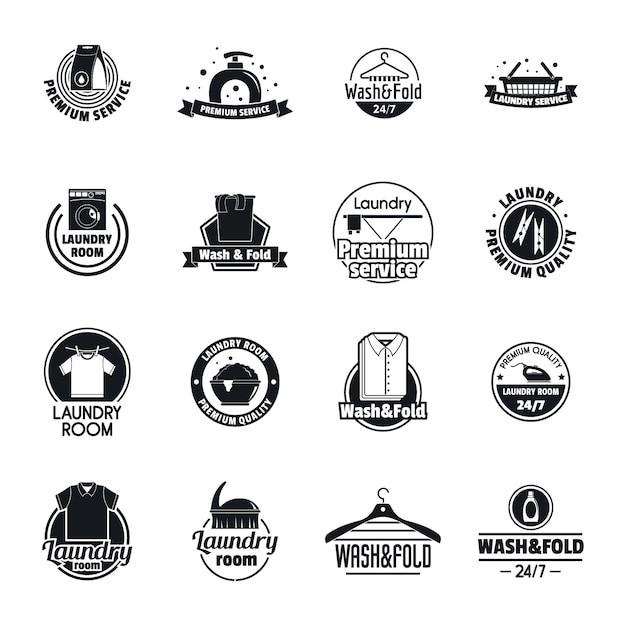 Zestaw Ikon Usług Pralni Logo Premium Wektorów