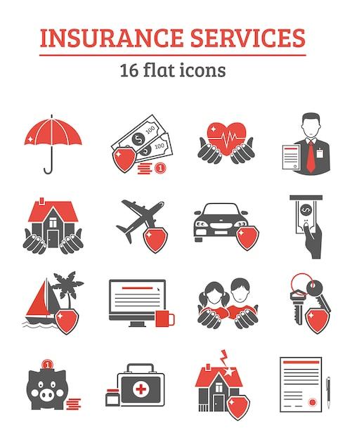 Zestaw ikon usług ubezpieczeniowych Darmowych Wektorów