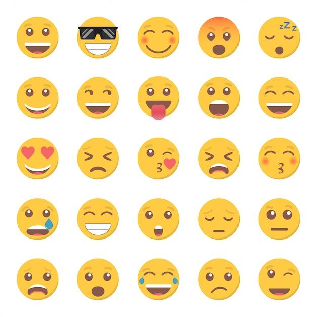 Zestaw ikon uśmiech emotikon w płaskiej konstrukcji Premium Wektorów