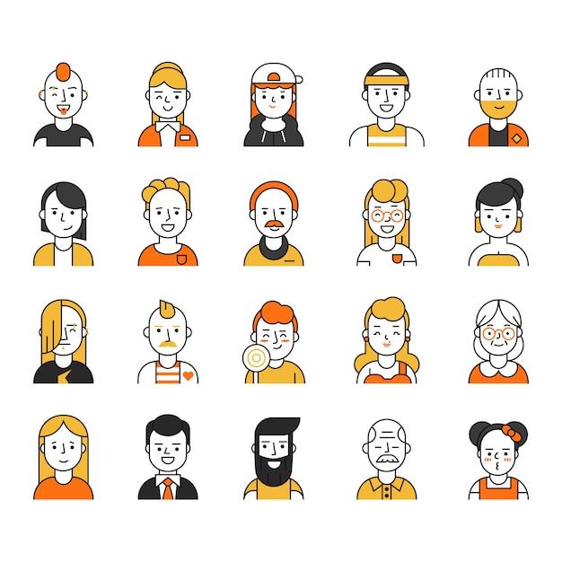 Zestaw ikon użytkowników w stylu liniowym, różne śmieszne postacie męskie i żeńskie Premium Wektorów