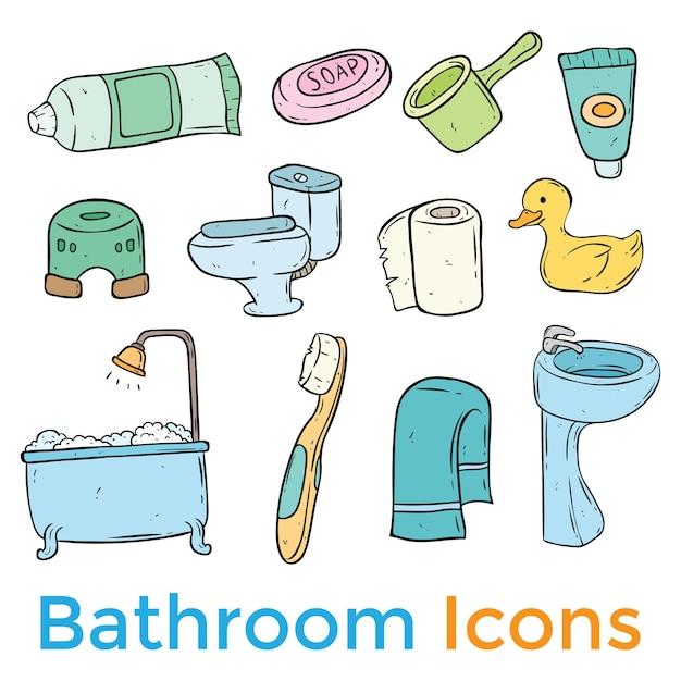 Zestaw Ikon W łazience Premium Wektorów