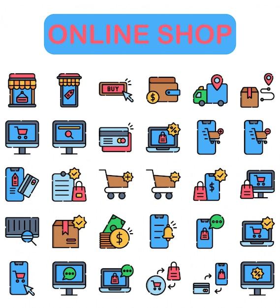 Zestaw Ikon W Sklepie Internetowym, Styl Liniowy Kolor Premium Wektorów