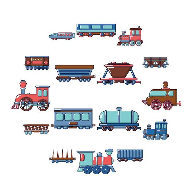 Zestaw Ikon Wagonów Kolejowych, Stylu Cartoon Premium Wektorów