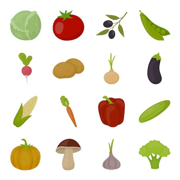 Zestaw Ikon Warzyw żywności Premium Wektorów