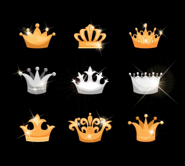 Zestaw Ikon Wektorowych Złotych I Srebrnych Koron Przedstawiających Dziewięć Różnych Wzorów Odpowiednich Dla Rodziny Królewskiej Lub Heraldyki Z Błyszczącymi, Migoczącymi Elementami Metalicznymi Lub Klejnotami Darmowych Wektorów