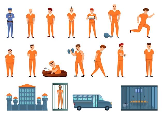 Zestaw Ikon Więzienia, Stylu Cartoon Premium Wektorów