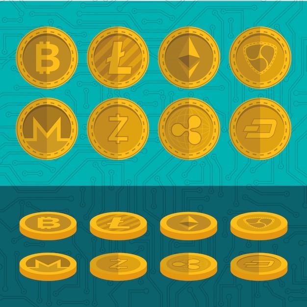 Zestaw Ikon Wirtualnych Monet Premium Wektorów