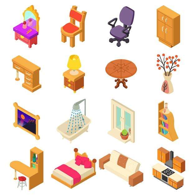 Zestaw Ikon Wnętrza Domu. Izometryczne Ilustracja 16 Ikon Wnętrza Domu Wektor Dla Sieci Web Premium Wektorów