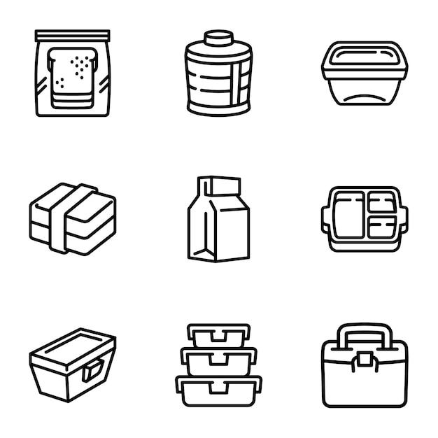 Zestaw ikon worek na lunch, styl konturu Premium Wektorów