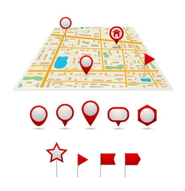 Zestaw Ikon Wskaźnika Mapy Pinezki Premium Wektorów