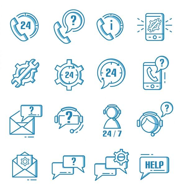 Zestaw ikon wsparcia, pomocy i obsługi klienta w stylu konspektu Premium Wektorów