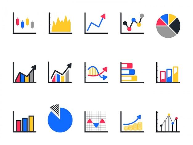 Zestaw ikon wykresu i wykresu, ikona wykresu kołowego. Premium Wektorów