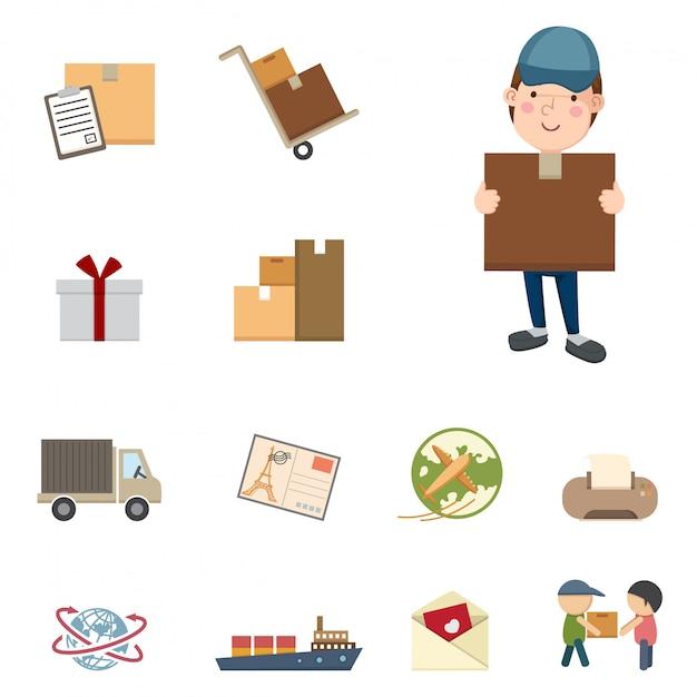 Zestaw ikon wysyłki i logistyki Premium Wektorów