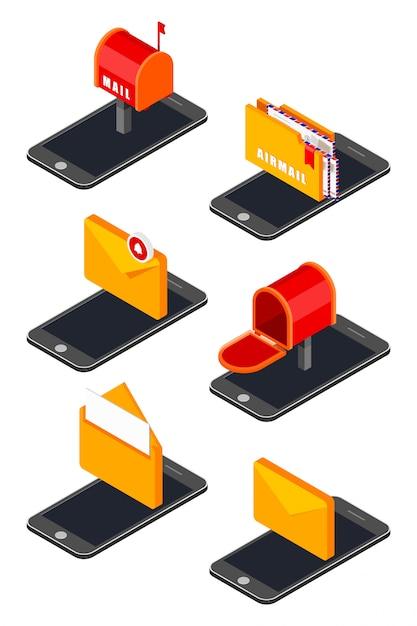 Zestaw ikon z izometrycznym ikony telefonu komórkowego i poczty Premium Wektorów