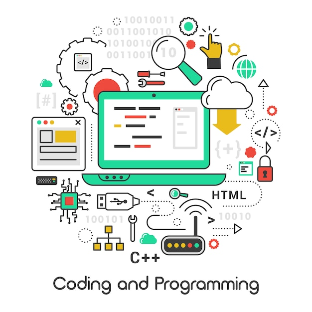 Zestaw Ikon Z Laptopa I Języków Komputerowych Premium Wektorów