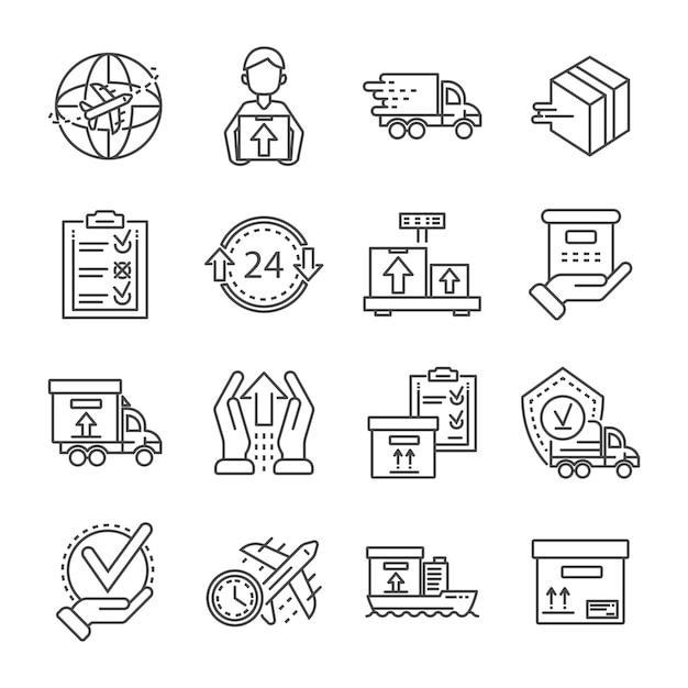 Zestaw ikon z paczkami. zarys zestaw ikon wektorowych paczka rozrzutności Premium Wektorów