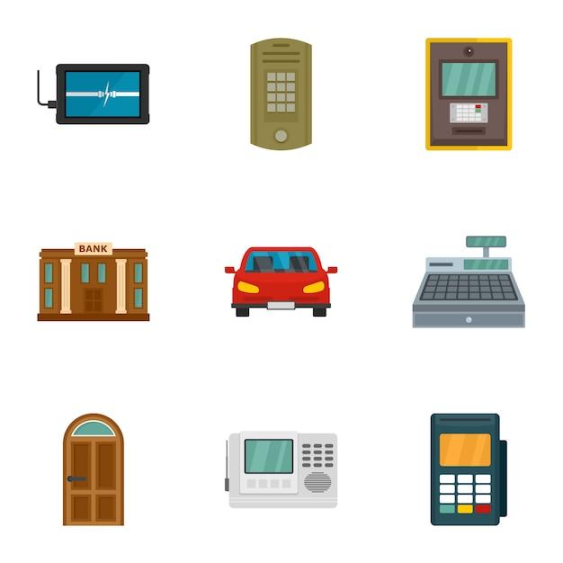 Zestaw Ikon Zabezpieczonych Finansów, Płaski Premium Wektorów