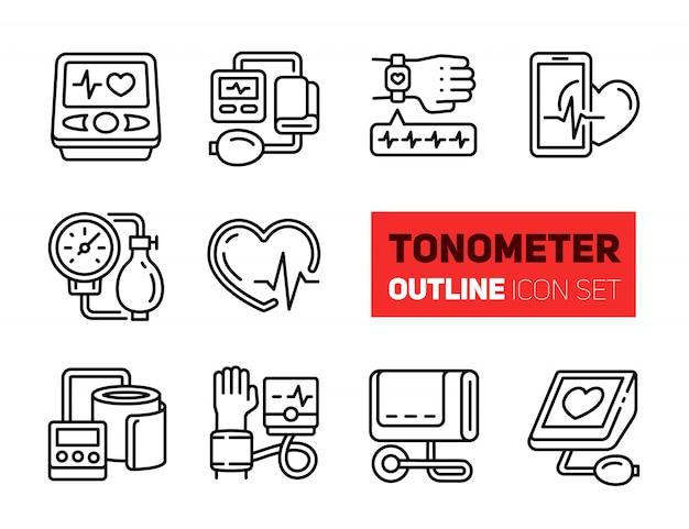 Zestaw Ikon Zarys Tonometru Premium Wektorów