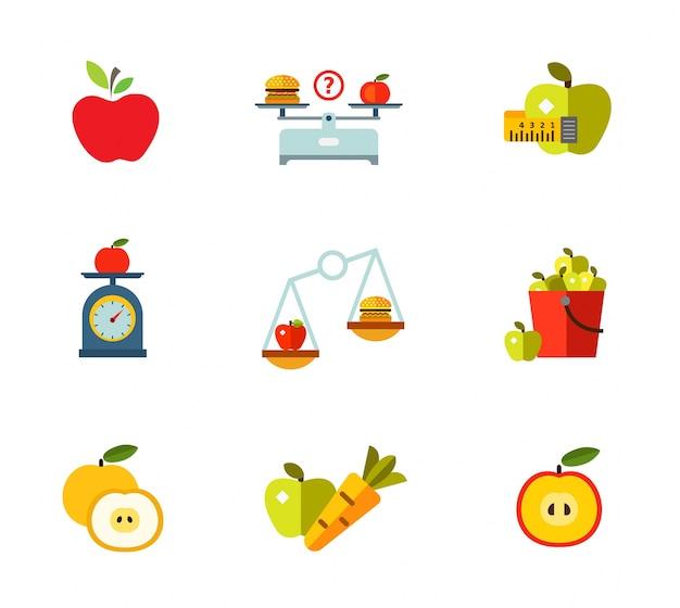 Zestaw ikon zdrowego odżywiania Darmowych Wektorów
