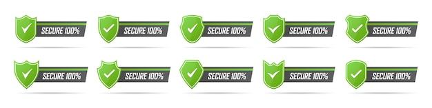 Zestaw Ikon Zielony Bezpieczny Znaczek Z Cieniem Premium Wektorów