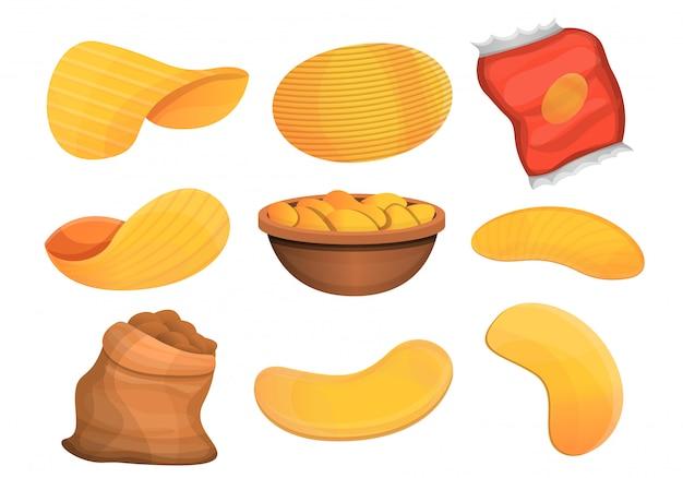 Zestaw ikon ziemniaków frytki, stylu cartoon Premium Wektorów