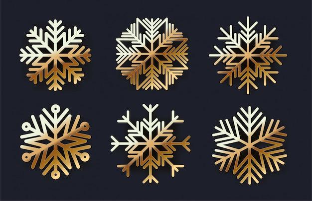 Zestaw ikon złote płatki śniegu Premium Wektorów