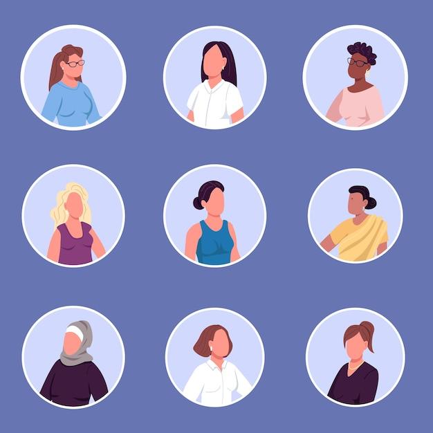 Zestaw Ikon Znaków Bez Twarzy Różnych Narodowości Kobiet Premium Wektorów