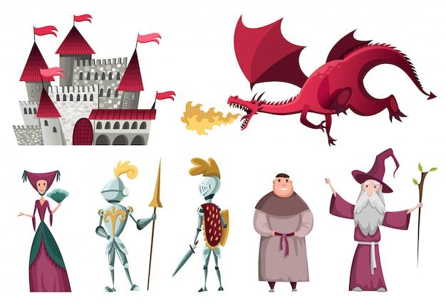 Zestaw Ikon Znaków średniowiecznego Królestwa. Premium Wektorów
