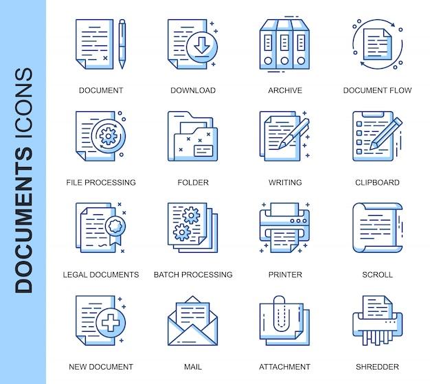 Zestaw ikon związanych z cienką linią dokumentu Premium Wektorów